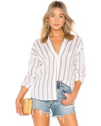 Vince - Textured Stripe Blouse In White - Lyst
