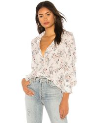 Michael Stars - Neck Tie Floral Shirt In White - Lyst