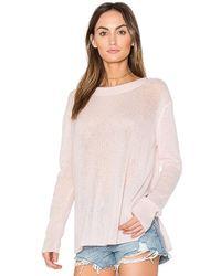 White + Warren - Side Slit Pullover In Pink - Lyst