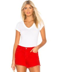 L'Agence - Becca V-neck Tee In White - Lyst