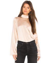 Kendall + Kylie | Silk Oversized Mock Neck Blouse | Lyst