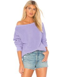 Callahan - X Revolve Shaker Knit Off Shoulder Sweater In Lavender - Lyst