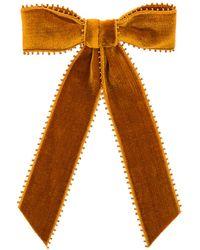 Jennifer Behr - Naomi Velvet Bow Barrette In Orange. - Lyst