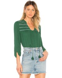 Michael Stars - Embroidered Peasant Top In Green - Lyst
