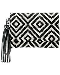 Rebecca Minkoff - Serra Foldover Clutch In Black & White. - Lyst
