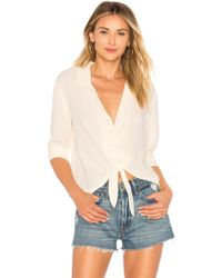 1.STATE - Ls Button Down Tie Front Blouse In Cream - Lyst