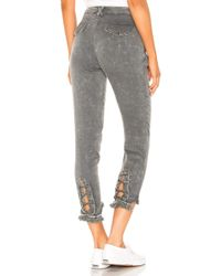 Chaser - Lace Up Pant With Frayed Edge In Charcoal - Lyst