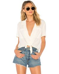 1.STATE - Ss Tie Front Button Down Blouse In Ivory - Lyst