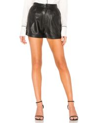 FRAME - Frame Pleated Leather Shorts - Lyst