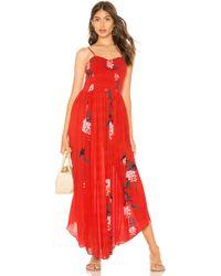 Free People - Beau Smocked Printed Slip Dress In Red - Lyst