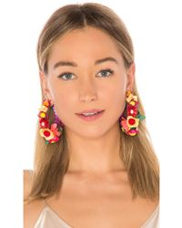 Ranjana Khan - Floral Hoop Earring In Orange. - Lyst