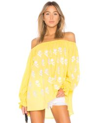 MARCH11 - Flower Power Off The Shoulder Top In Mustard - Lyst