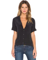 Equipment - Super vintage wash short sleeve slim signature top en color negro - Lyst