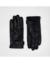 River Island - Black Leather Perforated Gloves - Lyst