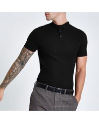 cbabe4a8 Lyst - River Island Black Textured Slim Fit Polo Shirt in Black for Men