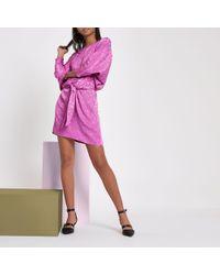 16f1774df River Island - Ri Studio Pink Jacquard Knot Front Mini Dress - Lyst