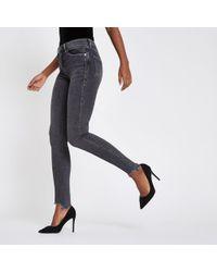 River Island - Grey Rl Amelie Super Skinny Jeans - Lyst