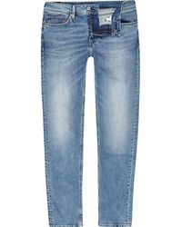River Island - Pepe Jeans Blue Luke Slim Fit Tapered Jeans - Lyst