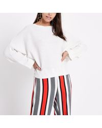 River Island - White Ribbed Long Sleeve Knitted Jumper - Lyst