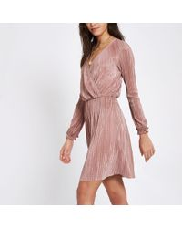 e15c2702fd River Island - Light Plisse Wrap Front Mini Dress - Lyst