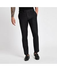 River Island - And Burgundy Check Skinny Suit Pants - Lyst