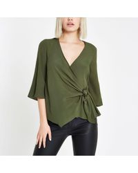 River Island - Green Ring Tie Waist Blouse - Lyst
