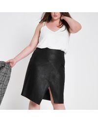 River Island - Plus Black Wrap Front Pencil Skirt - Lyst