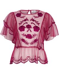 River Island - Dark Pink Dobby Mesh Embroidered Frill Top - Lyst