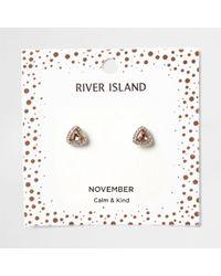 River Island - Orange Gem November Birthstone Stud Earrings - Lyst