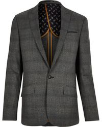 River Island - Grey Price Of Wales Check Slim Suit Jacket - Lyst