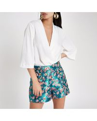 River Island - Floral Jacquard Button Front Shorts - Lyst