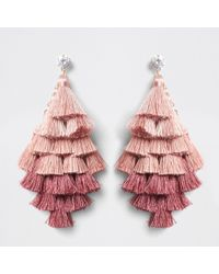River Island | Pink Ombre Tassel Drop Earrings Pink Ombre Tassel Drop Earrings | Lyst