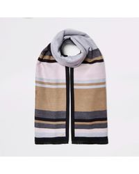 River Island - And Beige Blocked Blanket Scarf - Lyst