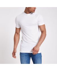 River Island - White Muscle Fit Longline T-shirt - Lyst