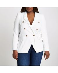 River Island - Plus White Double Breasted Blazer - Lyst