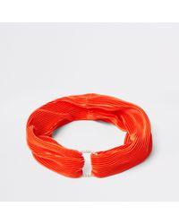 River Island - Orange Pleated Diamante Pave Circle Headband - Lyst