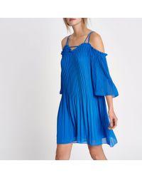 River Island - Blue Plisse Chiffon Cold Shoulder Swing Dress - Lyst