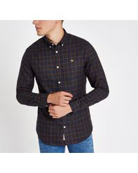 River Island - Navy Wasp Embroidered Long Sleeve Check Shirt - Lyst