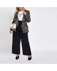 River Island - Plus Paperbag Wide Leg Trousers - Lyst