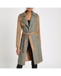 River Island - Light Brown Check Suedette Trench Coat - Lyst