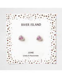 River Island - Purple Gem June Birthstone Stud Earrings - Lyst