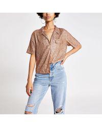 8287c4ac90d842 River Island - Sequin Sequin Embellished Shirt - Lyst
