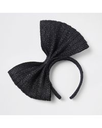 River Island - Black Straw Bow Headband Black Straw Bow Headband - Lyst