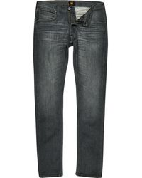 River Island - Lee Grey Luke Slim Fit Tapered Jeans - Lyst