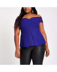 River Island - Plus Structured Bardot Top - Lyst