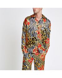 River Island - Jaded Yellow Zebra Print Pyjama Shirt - Lyst