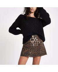 River Island - Brown Leopard Print Denim Mini Skirt - Lyst