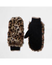 River Island - Brown Faux Fur Leopard Print Mittens Brown Faux Fur Leopard Print Mittens - Lyst