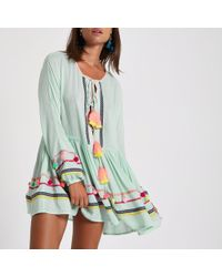 River Island - Green Pom Pom Oversized Beach Cover Up - Lyst