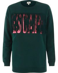 River Island - Green 'escape' Tassel Sweatshirt - Lyst